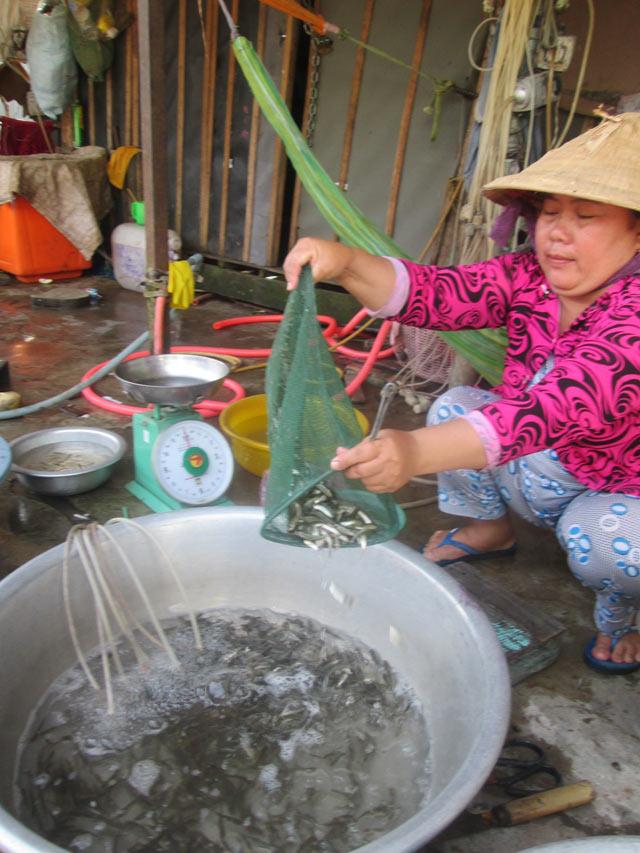 Cá linh non bán tại chợ Tân Châu (An Giang).