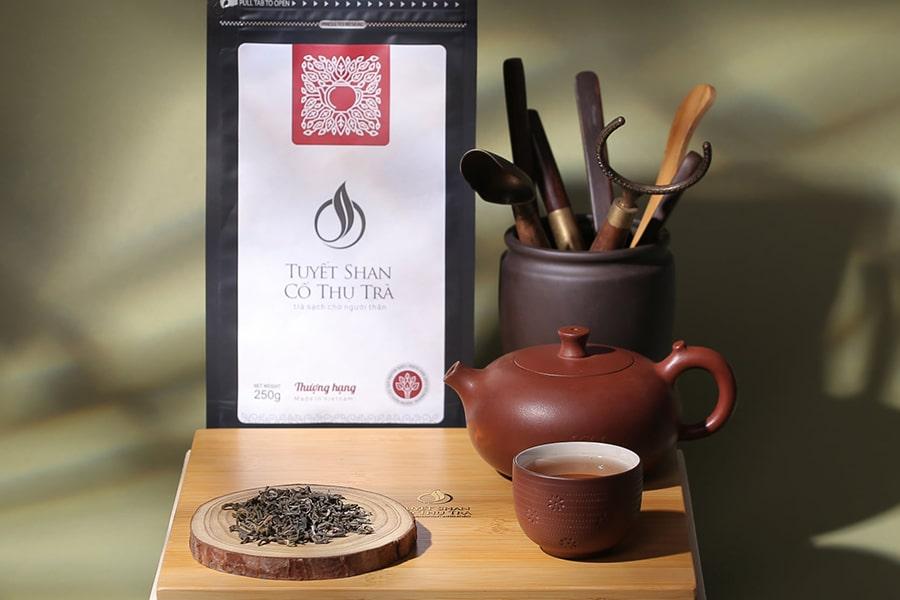 Sản phẩm trà Tuyết shan cổ thụ chính gốc Hà Giang tại cửa hàng Đặc sản miền Tây