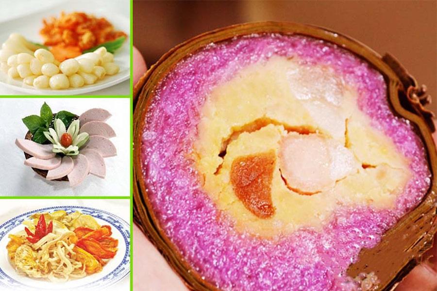 Bánh tét lá cẩm khi ăn kèm củ kiệu, dưa món, chả lụa rất ngon mà không sợ bị ngấy
